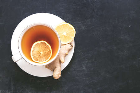 Black Tea with lemon and ginger 스톡 콘텐츠