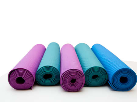 Yoga mat isolated on white background. copyspace