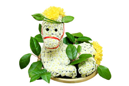 creative and beautiful bouquet in the form of the animal horse.
