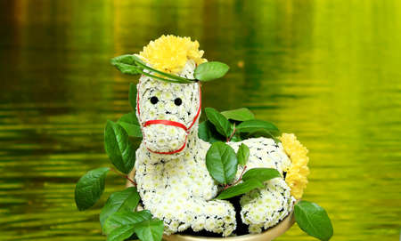 Very unusual, creative and beautiful bouquet of white and yellow chrysanthemums in the form of the animal horse. Copyspace
