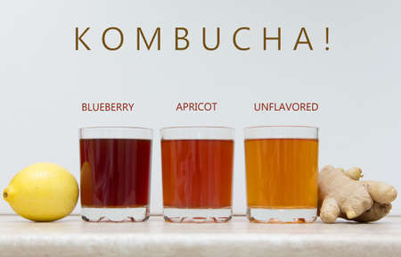 KOMBUCHA BLUEBERRY, APRICOT, UNFLAVORED. COPYSPACE.