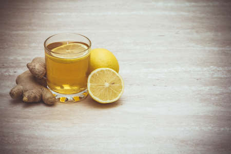 Cup of  kombucha with lemon and ginger. Copyspace Banque d'images
