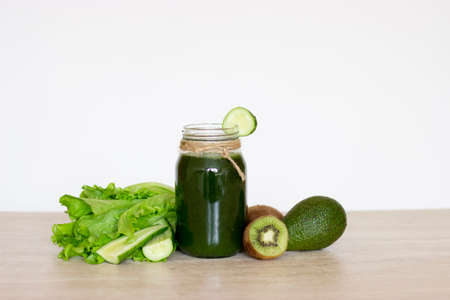 Vegetable smoothies green. The concept of diet, detox, vegetarianism and a healthy lifestyle.
