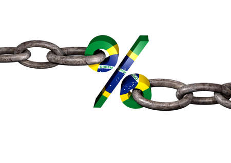 law of brazil: current holding percent sign painted with the colors of Brazils flag