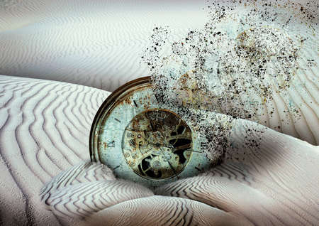 ancient clock disintegrating buried in desert sand, end of time concept photo Stok Fotoğraf