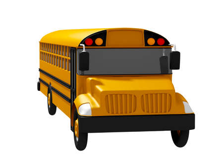 School bus isolated on white background. Back to school concept. 3D rendering Фото со стока