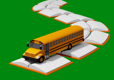 school bus traveling over road built of books. Back to school concept. green background. 3D rendering