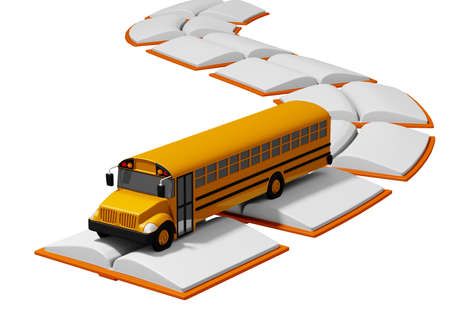 school bus traveling over road built of books. Back to school concept. white background. 3D rendering