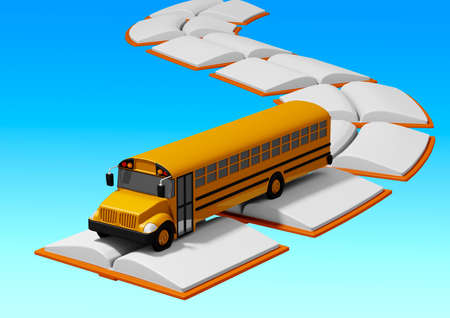 school bus traveling over road built of books. Back to school concept. blue background. 3D rendering