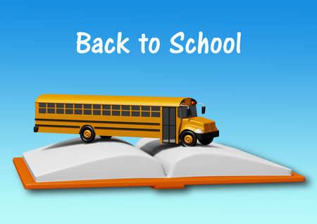 school bus over book isolated on blue background. Back to school concept. 3D rendering.