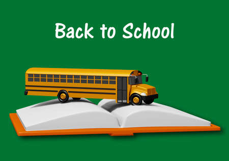 school bus over book isolated on green background. Back to school concept. 3D rendering.