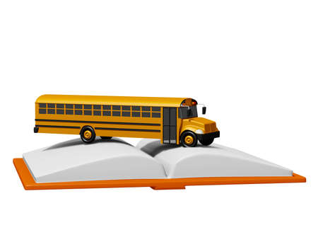 school bus over book isolated on white background. Back to school concept. 3D rendering