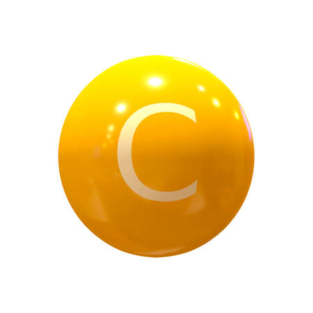 close-up of Vitamin C capsule, orange color, on white background, 3D rendering