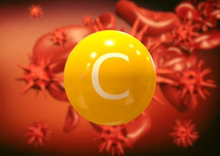 vitamin C fighting viruses and bacteria in the bloodstream, boosting immunity and resistance. 3D rendering