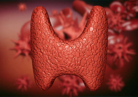Thyroid gland contaminated by viruses and bacteria. Commitment of the endocrine system by parasites. 3D illustration