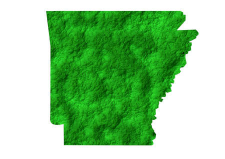 Map of the American state of Arkansas in the United States of America. 3D Rendering