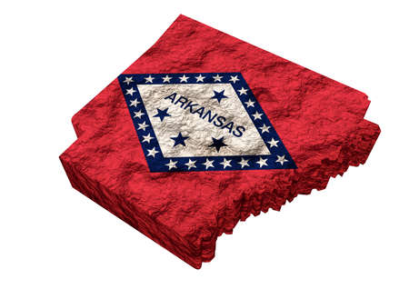 Map of the American state of Arkansas, with flag, United States of America. 3D Rendering Фото со стока
