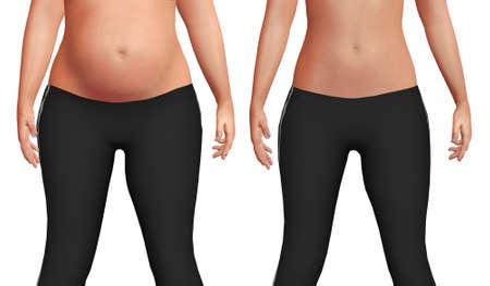 weiblicher Bauch vor nach dem Gewichtsverlustprozess mit Verlust von Körperfett und erhöhter Bauchmuskelmasse. Weißer Hintergrund. 3D-Darstellung