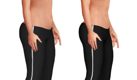 female belly before after the weight loss process with loss of body fat and increased abdominal muscle mass. White background. 3D illustration