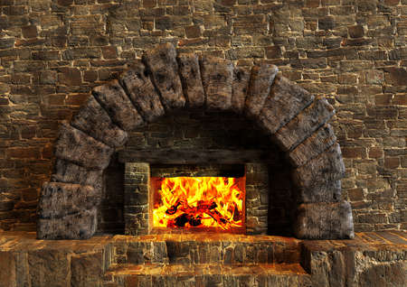 Classic isolated rustic fireplace made of stones lit with orange fire flames. 3D rendering Imagens
