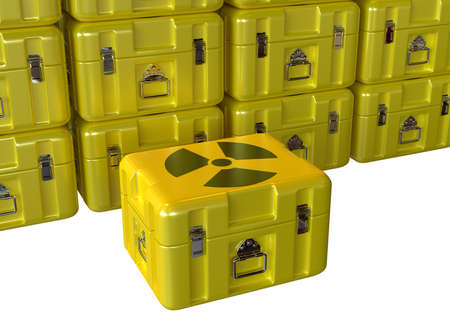 stack of boxes with radioactive material prepared for transport used in nuclear medicine. 3D rendering