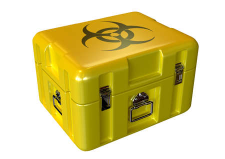 Yellow contaminated medical biohazard box awaiting disposal isolated over white background. 3D rendering