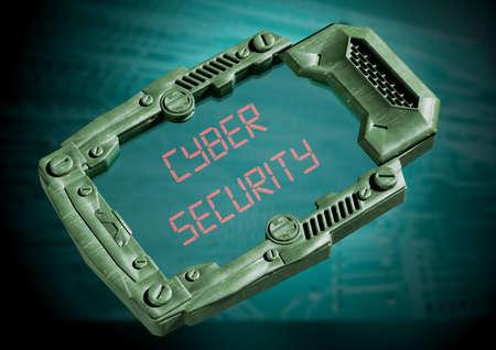 Cyber Security Concept. Futuristic sci-fi communicator with transparent screen. 3D rendering