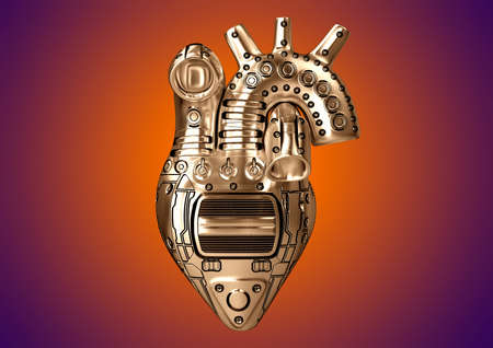 Artificial heart Steampunk style constructed of steel with rudimentary mechanical parts. 3D Rendering