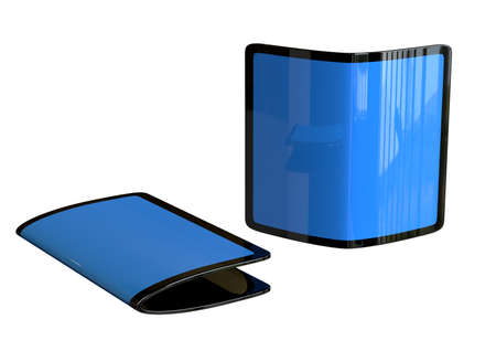Flexible smartphone, new trend of handsets with futuristic design isolated on white background. 3D Rendering