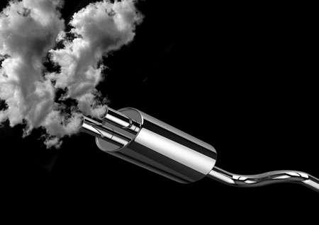 les gaz d'échappement des tuyaux de voiture et la fumée isolés sur fond noir. Concept de pollution de l'environnement causée par les automobiles. rendu 3D Banque d'images