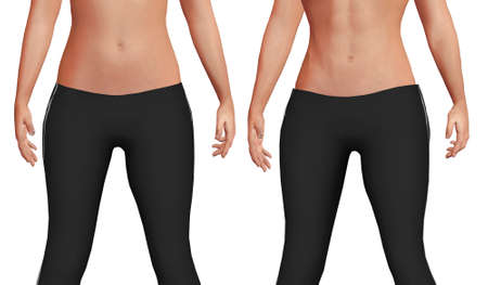 female belly before after the weight loss process with loss of body fat and increased abdominal muscle mass. White background. 3D illustration Stock fotó