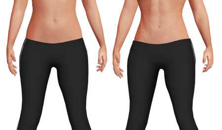 weiblicher Bauch vor nach dem Gewichtsverlustprozess mit Verlust von Körperfett und erhöhter Bauchmuskelmasse. Weißer Hintergrund. 3D-Darstellung Standard-Bild
