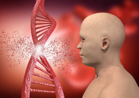 engineering and genetic editing through the Crispr technique. genetic mutation. 3D rendering Stock Photo