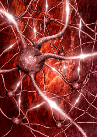 closeup of neuron with neural network background in electrical activity Foto de archivo