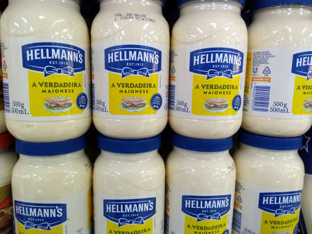 RIO DE JANEIRO, BRAZIL - DECEMBER 27, 2019: Hellmann's mainese pot on the supermarket shelf. It is a brand of diverse food seasonings that include mayonnaise, ketchups and salad dressings.