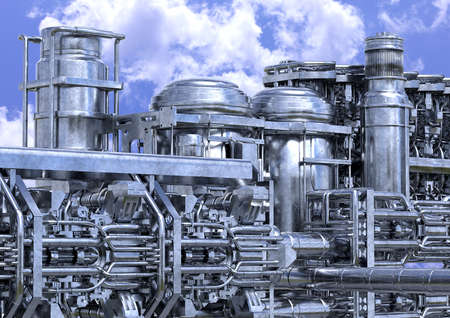 oil refinery plant installation. Petrochemical industry equipment closeup outdoors. 3D rendering