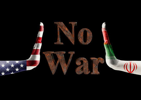 Usa x iran conflict, protest message, No War, against imminent war between these nations. 3D rendering