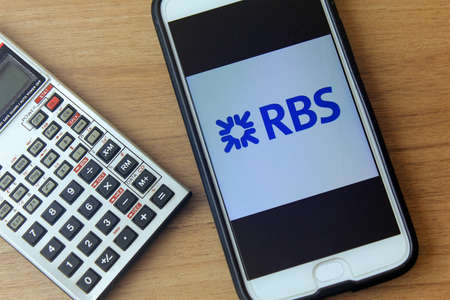 RIO DE JANEIRO, BRAZIL - DECEMBER 22, 2019: Royal Bank of Scotland logo on mobile screen. It is the largest bank in Scotland, the second largest in the United Kingdom and Europe.