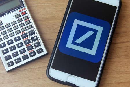 Rio de Janeiro, Brazil - December 22, 2019: Deutsche Bank logo on the mobile screen. It is one of the largest financial institutions in the world, headquartered in Berlin, Germany. Editorial
