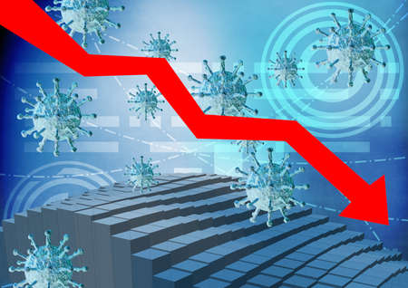 graph and diagram showing global economic and financial recession caused by Covid-19 disease and coronavirus outbreak. Stock market concept. 3D rendering
