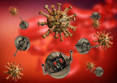 Coronavirus and Covid-19 attacked by robots or nanorobots at war inside the human body. Concept of immunization against Covid-19 through vaccine and drugs such as hydroxychloroquine. 3D rendering