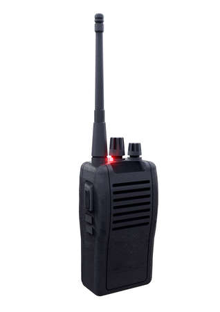 black walkie talkie, portable radio transceiver communication isolated on white background. 3D rendering