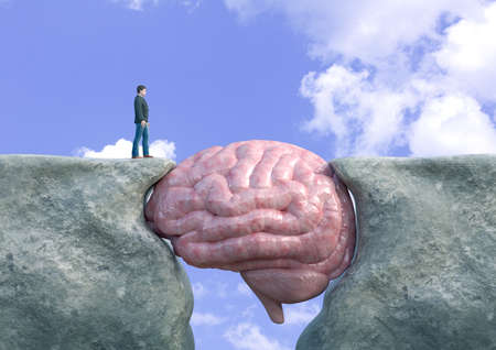 man crossing cliff with brain. Concept of victory over mental block, cognitive impairment, creativity block, emotional fragility, disordered thoughts. 3D rendering
