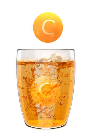 effervescent soluble vitamin C tablets in glass beaker with liquid and bubbles. Food supplement concept. 3D rendering