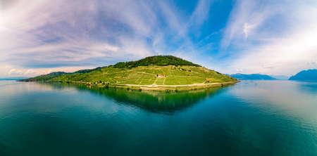 drone shot of swiss riviera Banco de Imagens