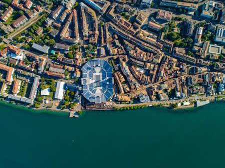 Drone shot of vevey city with stadium
