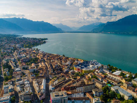 Drone shot of vevey city with stadium Standard-Bild