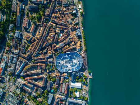 Drone shot of vevey city with stadium Banco de Imagens