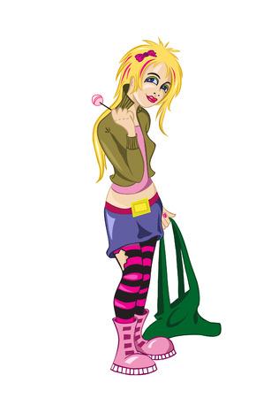 teenage girl: emo-girl with lollipop Illustration
