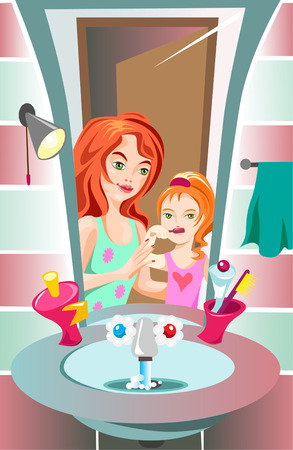 Mammy is brushing her daughter's teeth Stock Vector - 8111095